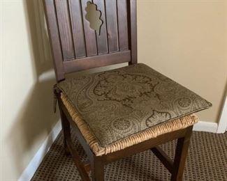 "99. Farm Table (40"" x 68"") 94. 6 Pine Chairs w/ Rush Seat (18"" x 21"" x 40)"