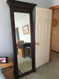 Large tall antique mirror mahogany wood frame