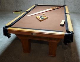 """Overland Billiard Company Pool Table With 1"""" Slate Top, 32"""" x 98.5"""" x 54.5"""", Includes 6 Cue Sticks, Rack And Balls"""