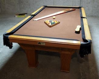 "Overland Billiard Company Pool Table With 1"" Slate Top, 32"" x 98.5"" x 54.5"", Includes 6 Cue Sticks, Rack And Balls"