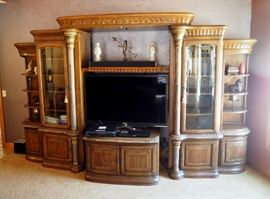 """Formal 6 Piece Lighted Media Center With Beveled Glass Cabinets, Lower Storage With Slide Out Drawers, 91"""" x 148"""" x 32"""""""