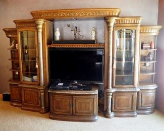 "Formal 6 Piece Lighted Media Center With Beveled Glass Cabinets, Lower Storage With Slide Out Drawers, 91"" x 148"" x 32"""