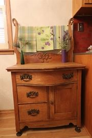 Antique, oak washstand