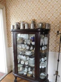 china  cabinet,pewter  mugs, three  sets of  china