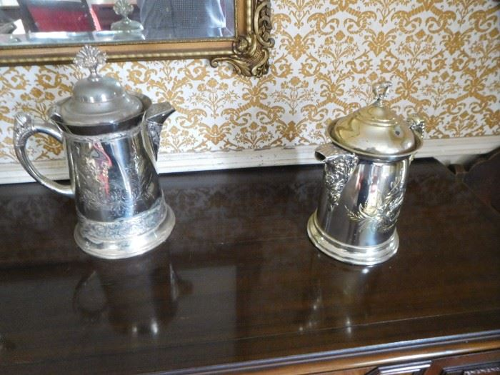 turn  of  the  century silverplate water  servers