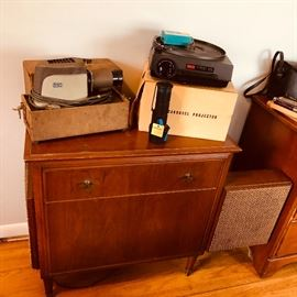 Vintage projectors and carousel projector