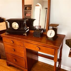 desk and mirror with vintage, scale and antique chime clock