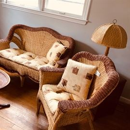 rattan/wicker chair and  love seat
