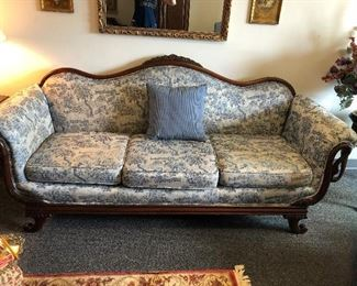 Duncan Fyffe beautiful couch. Wood is in immaculate condition. Custom upholstery.