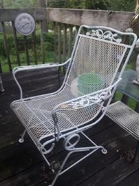 wrought iron patio chair, round table, etc.