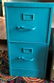 Turquoise  File Cabinet x 2