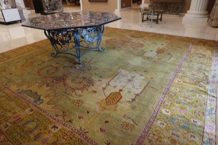 Inlaid tables.  Lapis and many other stones.  Very heavy.  Beautiful.  Several amazing rugs.