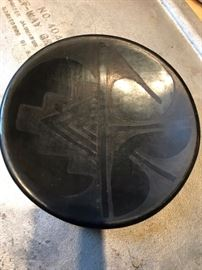 "Rose Gonzales (San Ildefonso Pueblo) black on black pottery dish -- 5 3/8"" diameter.  Signed ""Rose"""