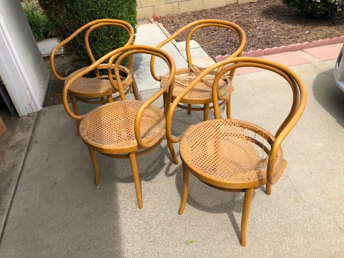 4 BENTWOOD CANE CHAIRS