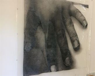 """Title: Explore  Size : 102"""" x 102""""   Media: Black litho crayon drawing on clear plastic sheet( the drawing depicts a close-up view of a single hand at rest agaist an arm.)"""
