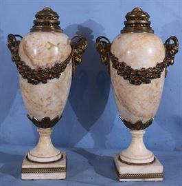 157a  Pair of marble and bronze capped urns with ram heads very heavy, 19 in. T.