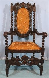 174a  Oak throne chair with carved cupids on crown, barley twist style with new gold upholstery, 51 in. T, 23 in. W, 20 in. D.