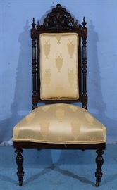 207a  Rosewood Victorian side parlor chair, 44 in. T, 21 in. W, 18 in. D.