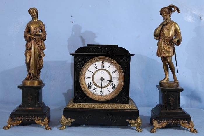 215a  3 piece Ansonia clock set, 12 in. T figures