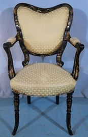 228a  Black lacquer oriental desk chair with mother of pearl and green upholstery, 37 in. T, 21 in. W, 17in. D.