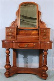 237a  English mahogany dressing table with 7 drawers and lift up compartment, 62 in. T, 41 in. W, 12 in. D.