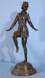 254a  Bronze statue of girl dancing, 21 in. T.