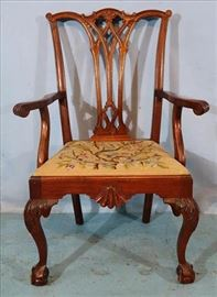 271a  Mahogany Chippendale single dining chair with needlepoint seat and ball and claw feet, 40 in. T, 22 in. W, 19 in. D.