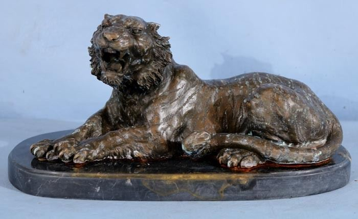 274a  Bronze tiger on marble base, 7 in. T, 15 in. W.