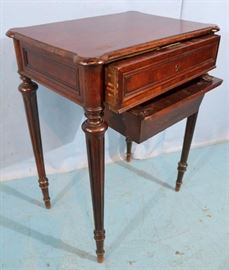 280b  Mahogany Victorian sewing stand with thread drawer, 29 in. T, 22 in. W, 15 in. D.