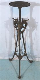 307a  Heavy iron Victorian pedestal with chains and storks