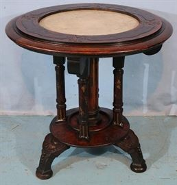 309a  Round Victorian table with white marble insert, 29 in. T, 29 in. Dia.