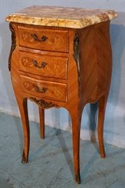 324a  French night stand with marble top, 29 in. T, 17 in. W, 10 in. D.