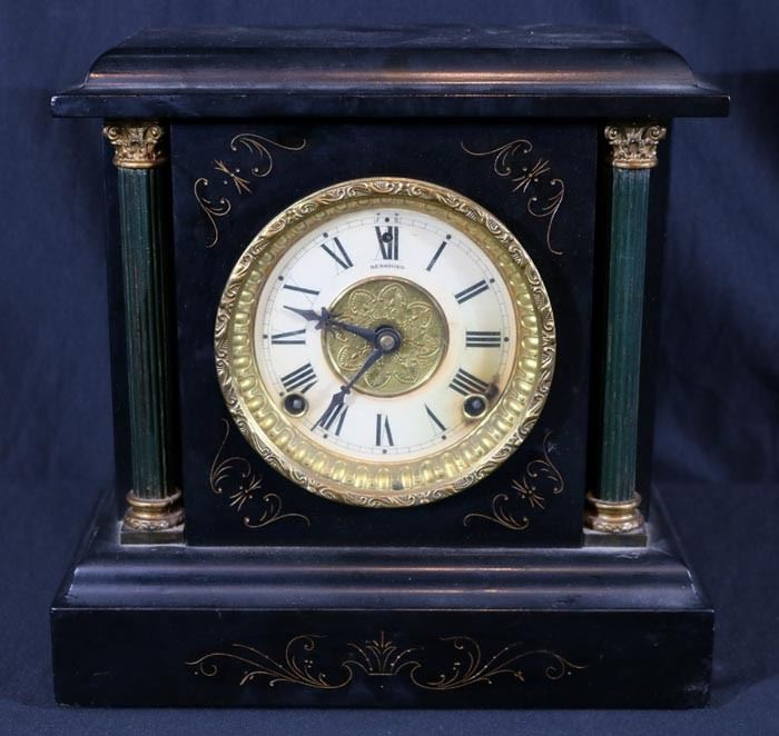 348a  Sessions wood black column mantle clock, no key, 12 in. T, 12 in. W, 6 in. D.