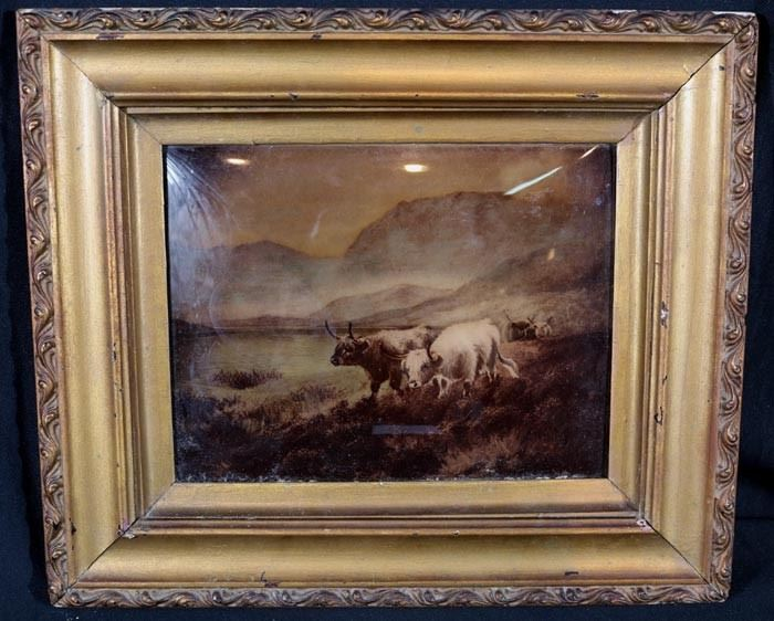 355a  Reversed painted on glass of cows in paster with gold frame, 14 in. T 15 in. W.