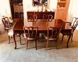 Cherry French provincial  Table with four chairs two arm chairs