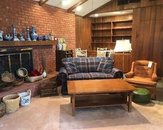 Loveseat, coffee table, chair, and lamp