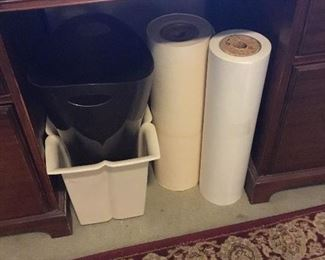 Trashcans and roll paper
