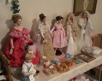 Porcelain dolls and vintage baby shoes