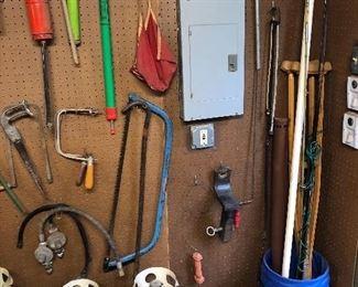 LP gas bottles, saws, syphons, hitch, hose, crutches, gas regulators