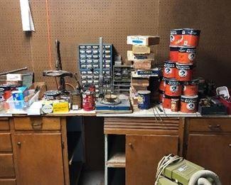 Parts bins, vintage tobacco cans, vintage cigar boxes