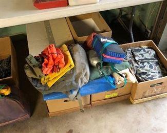 Heavy tarps, camp goods