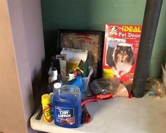 Pet door, car wash cleaning supplies