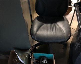Office chair, retro 1950's light fixtures,