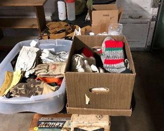 Winter wool socks, assorted gloves, card table legs, below zero sleeping bags