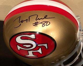 Jerry Rice sign  helmet