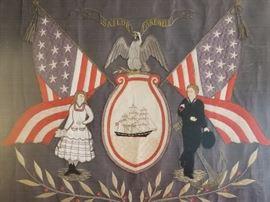 "Antique Folk Art ""Sailor Farewell"" unusual pre Civil War era Handmade Naval Schooner Flag and Eagle Silk Embroidery....recent frame"