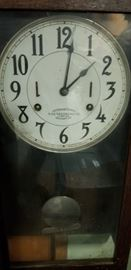 Antique Time Recording pendulum Clock with key