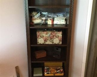 "EXPRESSO WOOD BOOKCASE - 5 SHELVES   75"" H X  25"" W  X  12' DEEP - VERY STURDY - SHELVES FILLED WITH SEWING BASKET AND NOTIONS"