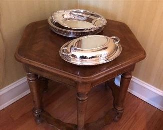Side table and silver plate