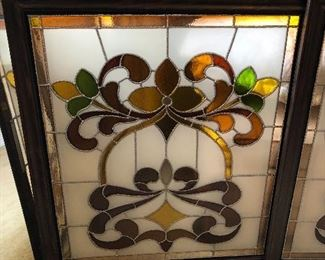 A pair of Stained glass window's